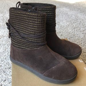 TOMS Nepal Boot Brown Suede w Metallic Sz 1 YOUTH